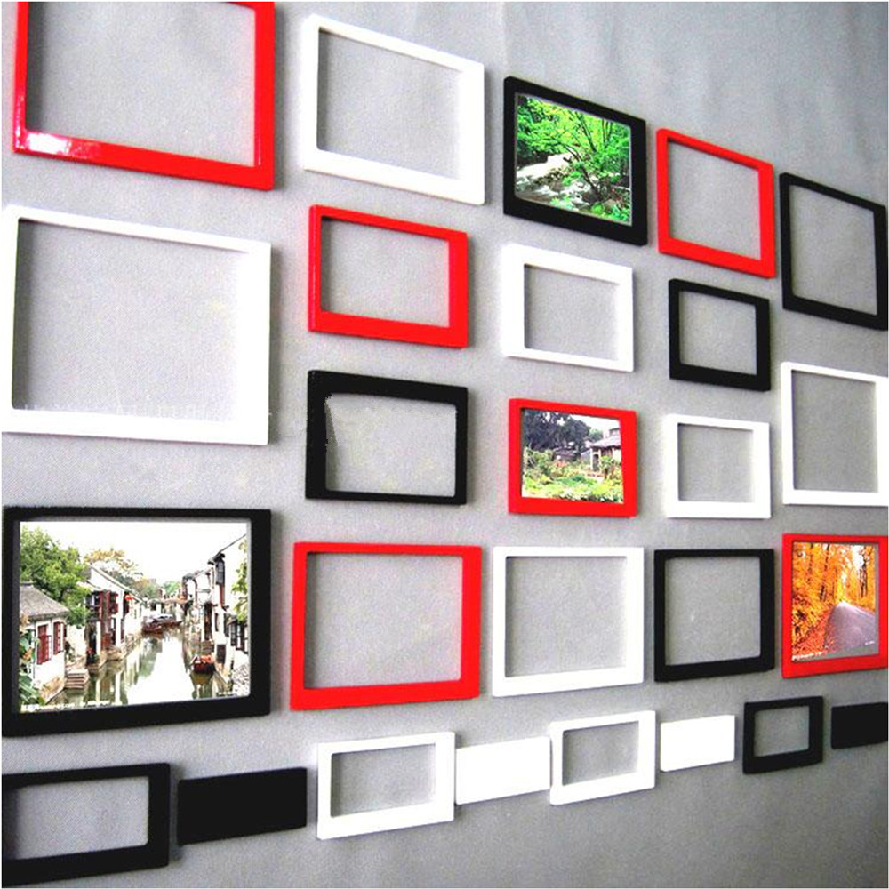 yazi 10PCS Removable 3D DIY Wood Wall Sticker Photo Frame Living Room Bedroom Home Decor Black Red White