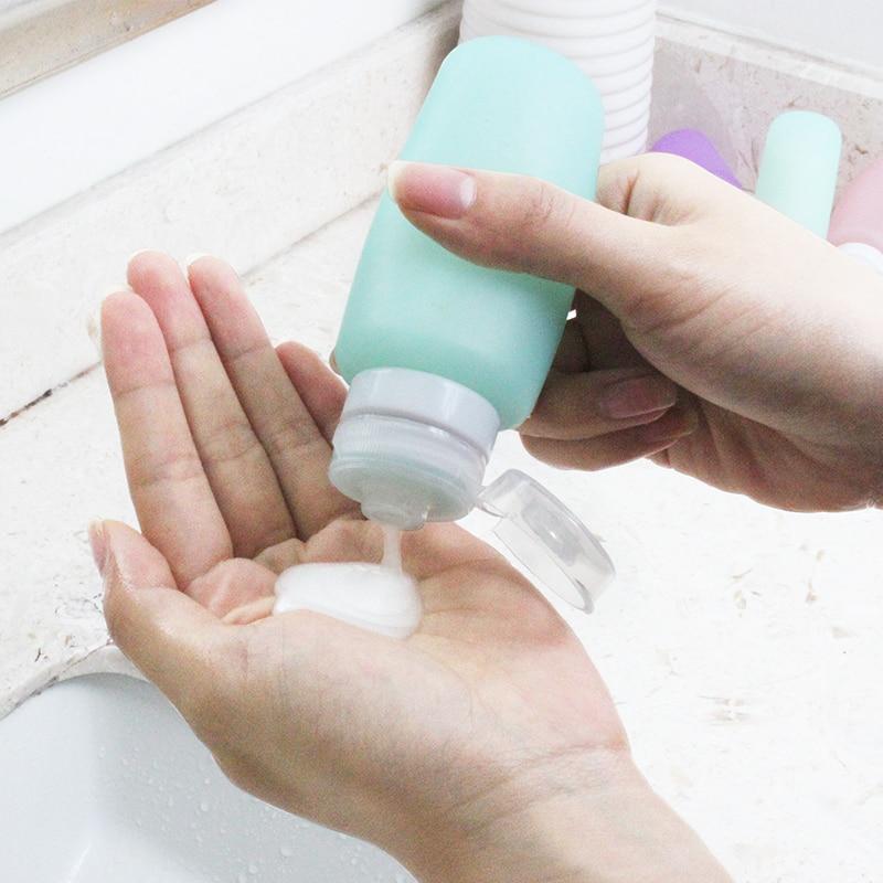 Travel Portable cosmetics, silicone bottles, shampoo, shower gel, toiletries, empty bottle set цена