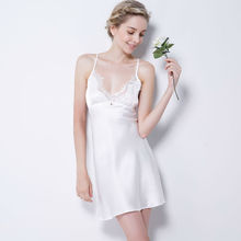 Women's Pure Mulberry Silk Sexy Nightwear 100% Silk Sexy Nighties Satin Chemise sexy lingerie nightgown female sleepwear