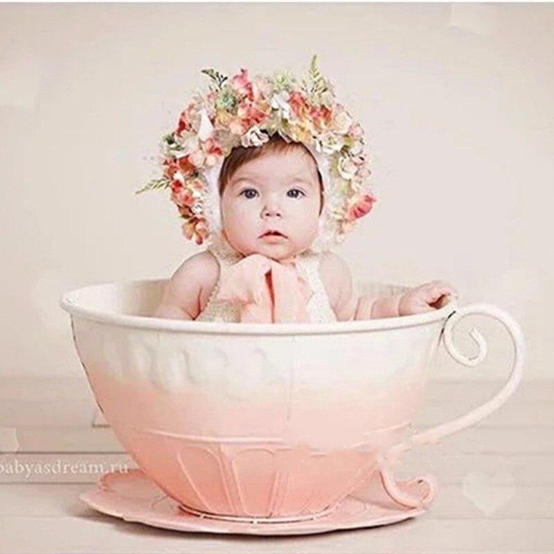 Accessoires de photographie nouveau-né panier de fer tasse de thé accessoires photo Infantil enfant en bas âge Studio de prise de vue accessoires Photo cadeau de douche