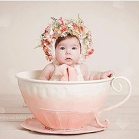 Newborn Photography Props Iron Basket Tea Cup photo Accessories Infantil Toddler Studio Shooting Photo Props Shower Gift