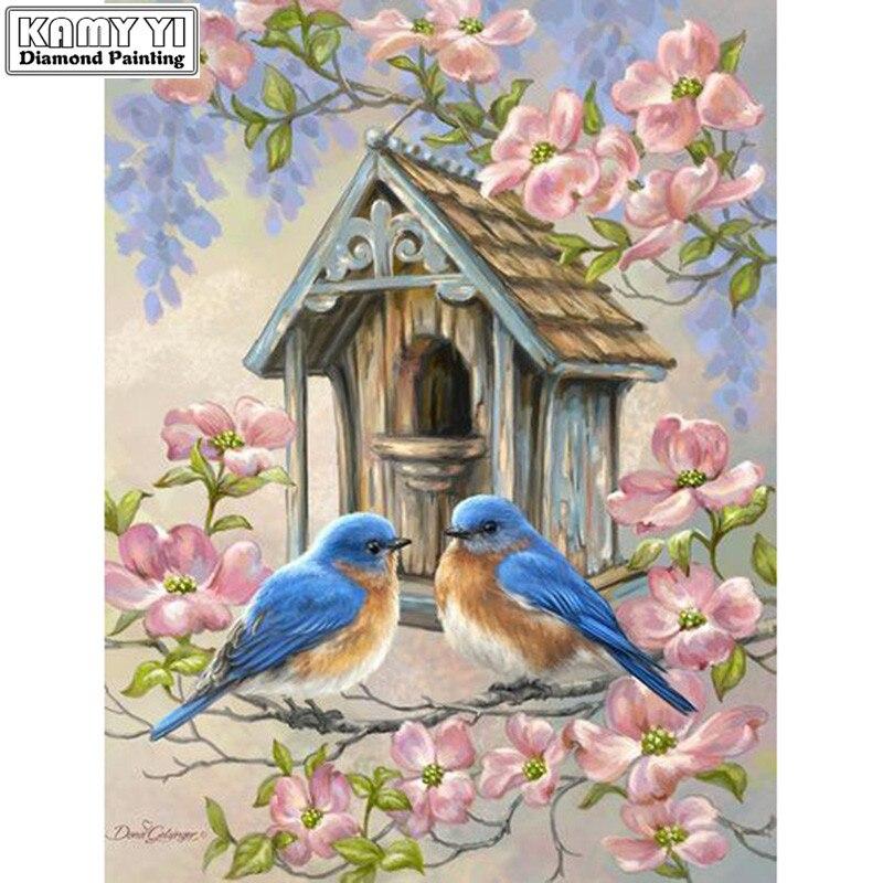 Pieno trapano Piazza 5D FAI DA TE Diamante pittura di Uccelli e fiori Ricamo Mosaico Punto Croce di Strass decorazione HYYPieno trapano Piazza 5D FAI DA TE Diamante pittura di Uccelli e fiori Ricamo Mosaico Punto Croce di Strass decorazione HYY