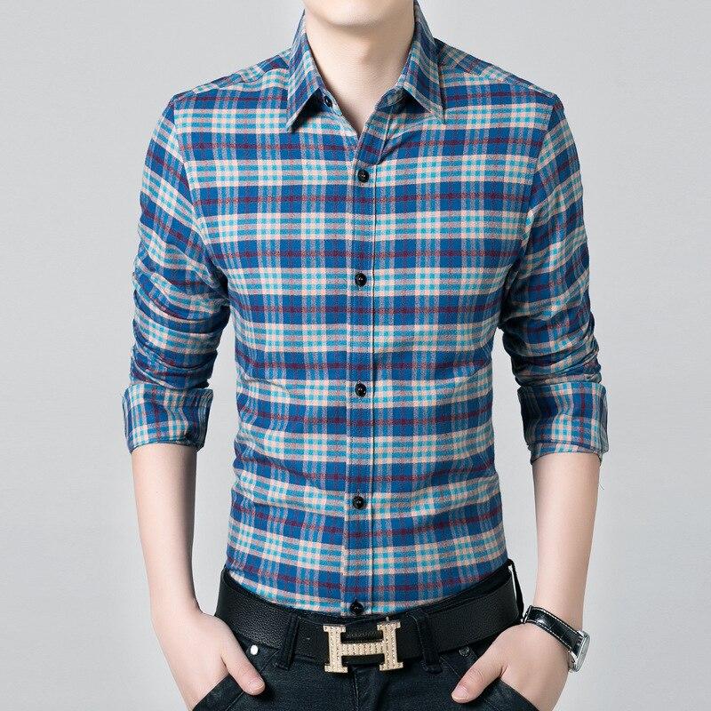 New Autumn Dress font b Shirt b font Korean Slim fit cotton work grid font b