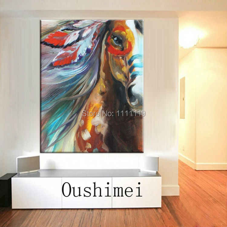 Hand Painted Modern Abstract Animal Horse Face Oil Painting Handmade Wall Artwork Running Equine Home