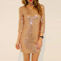 Sexy Backless Sequined Dress 2017 Autumn Winter Long Sleeve Bodycon Short Mini Dress Elegant Club Party