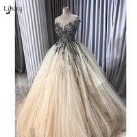 Довольно Кристалл бисером пачка вечерние платья 2019 Шампанское оборками Длинные Gogwns рубашка с короткими рукавами Vestido De Formatura Longo