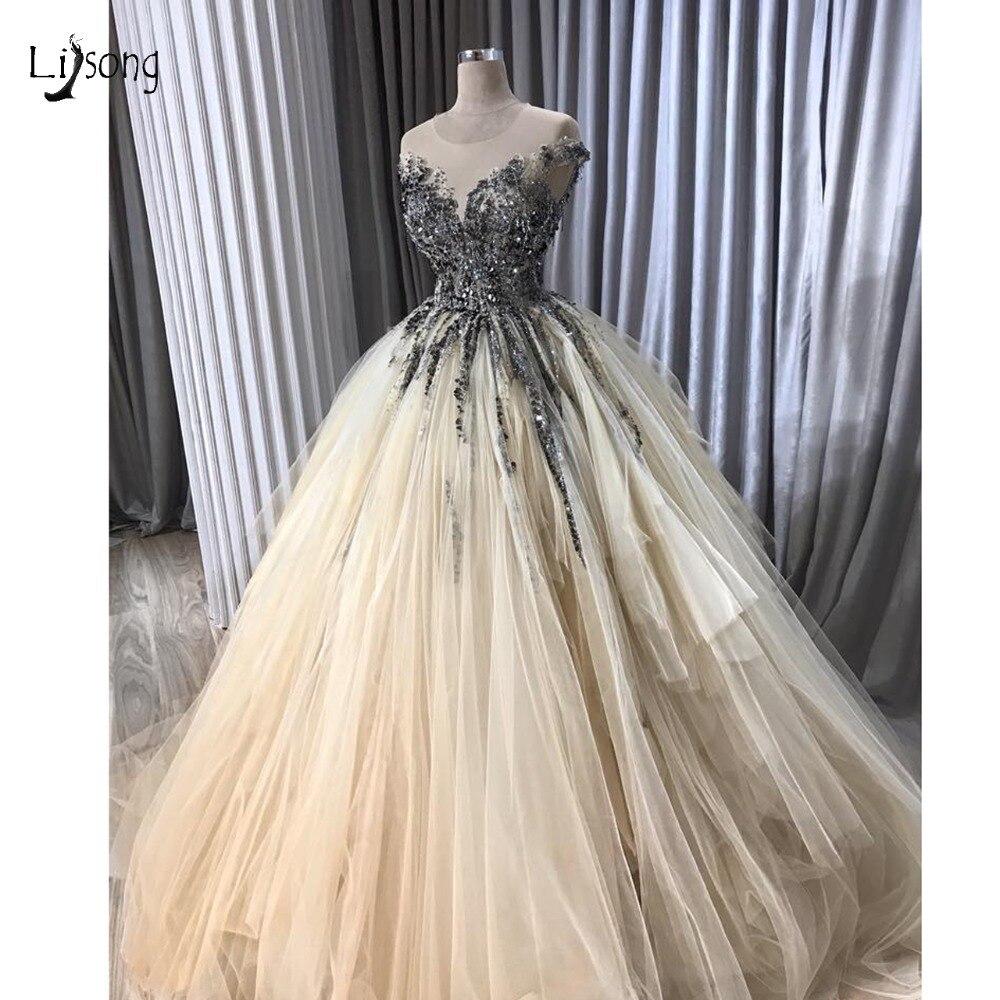 Pretty Crystal Beaded Tutu   Evening     Dresses   2019 Champagne Ruffles Long   Evening   Gogwns Short Sleeves Vestido De Formatura Longo