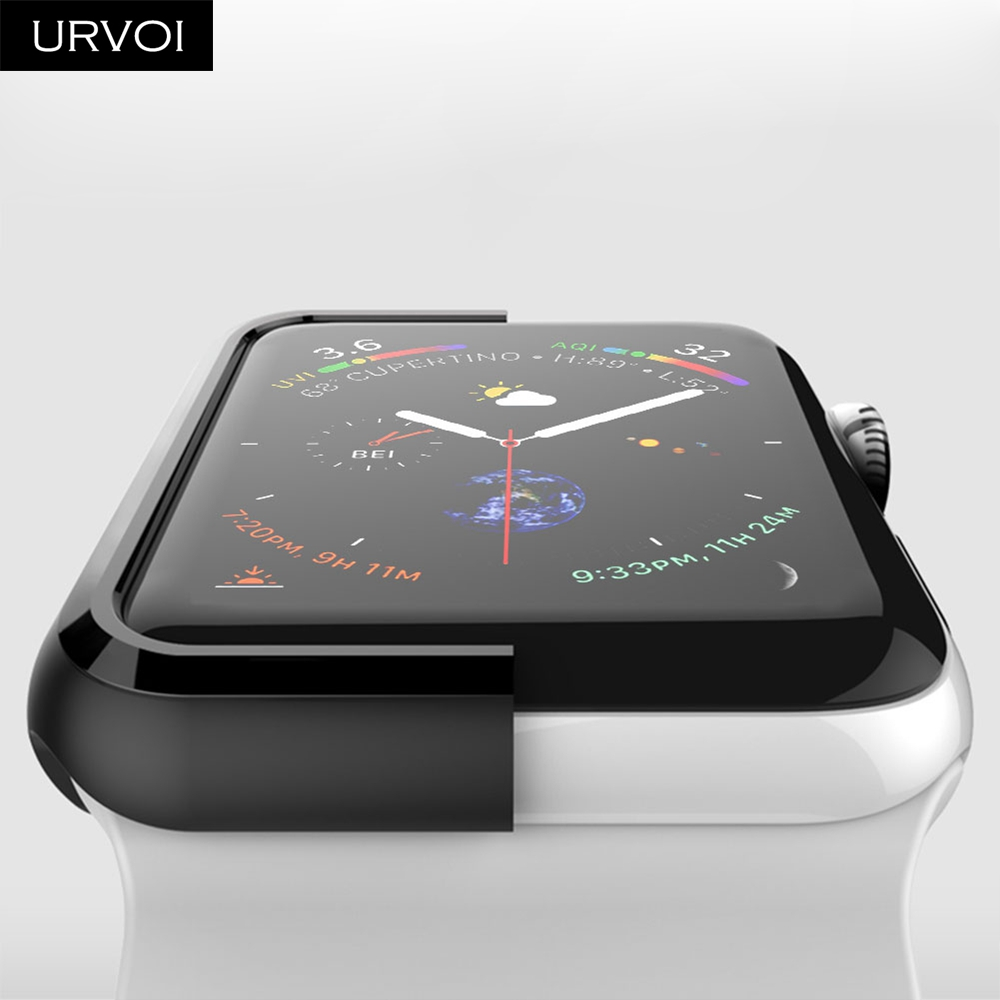 URVOI Black frame for Apple Watch series 4 3 Plastic bumper hard cover protectorfor iWatch 40 44mm slim fit Ultra-thin case_05