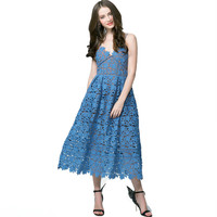 Runway Lace Flower Women S Dress 2017 Party Long Dresses Sexy Spaghetti Strap Lady S High
