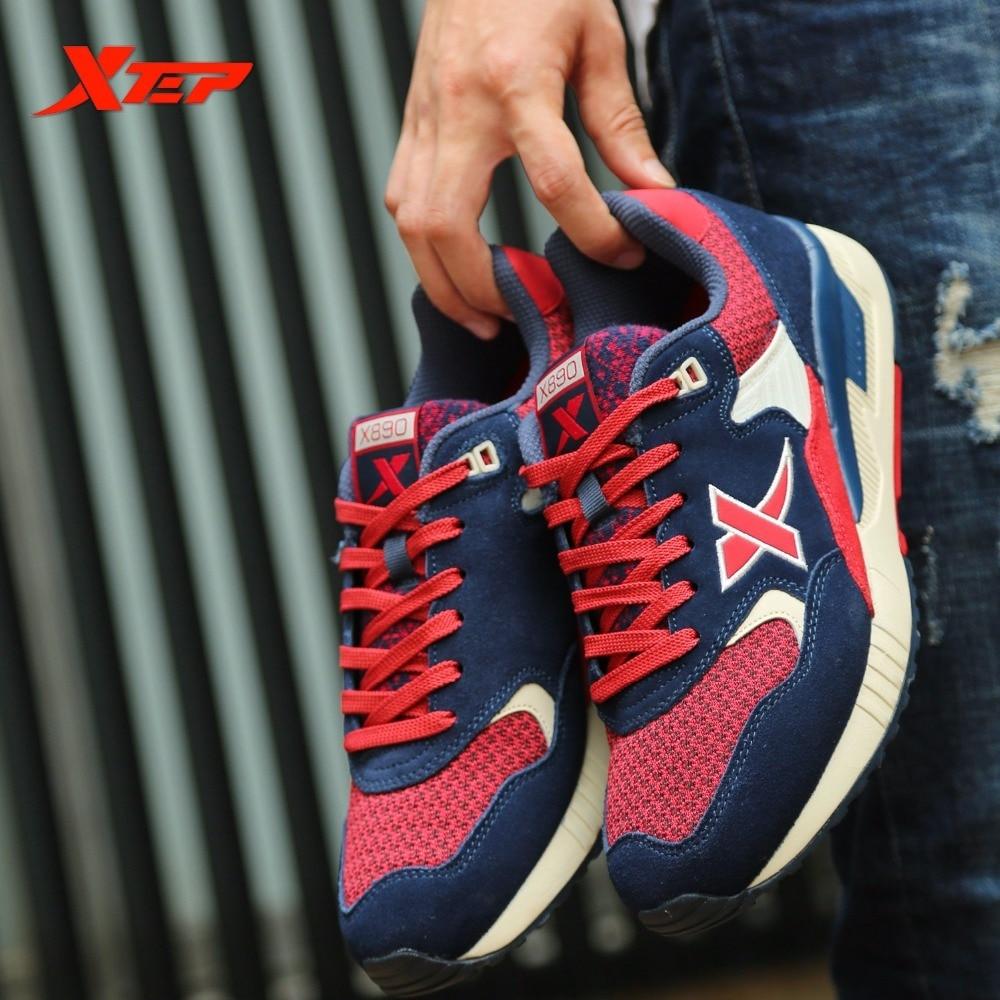 цена XTEP Brand Men's Retro sports Light Leather Men Running Damping Runner Athletic Sneaker Shoes онлайн в 2017 году