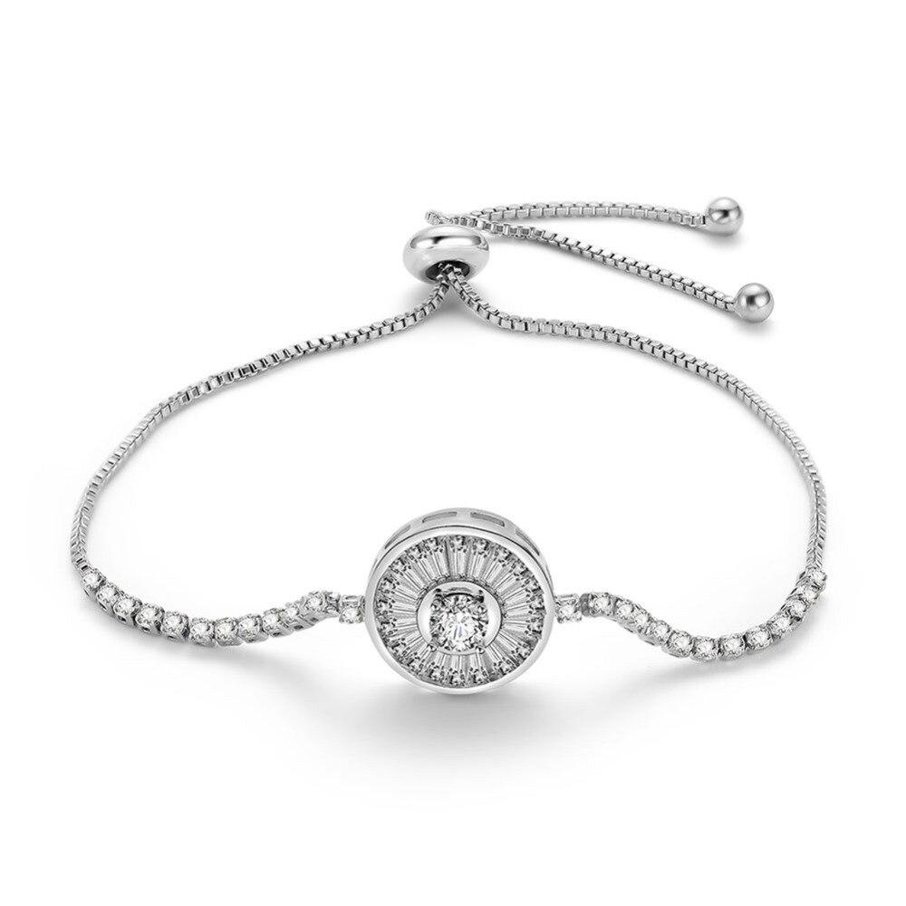 2018 Fashion Bracelet Creative New Round Full Zircon Bracelet Plated Adjustable Bracelet Jewelry For Woman Lady