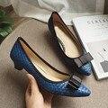 Dedo Del Pie Acentuado atractivo Bombea Los Zapatos de Tacón Bajo de Las Mujeres Primavera Otoño Bowtie Slip On de Tacones de las Mujeres zapatos de Tacón Bombas Zapatos de Las Señoras Solteras azul