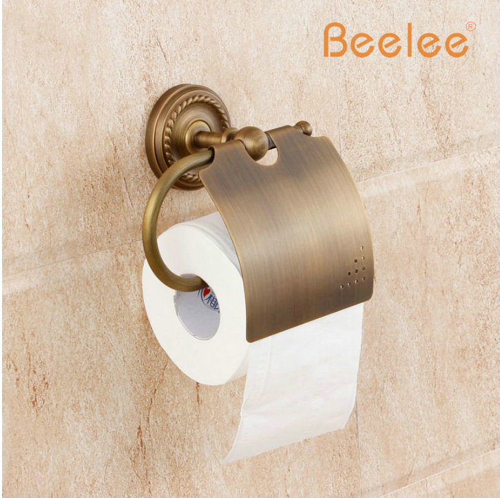 Beelee BA6110A  Antique  toilet paper holder copper fashion towel rack tissue box paper holder bathroom accessories waterproof black of toilet paper all copper toilet tissue box antique toilet paper basket american top hand cartons
