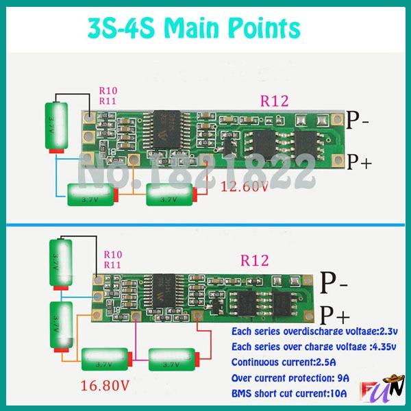 4s bms wiring diagram shower drain vent 2pcs a lot 3 7v li ion 3s to pcm 11 1v12 6v 14 8v16 8v lithium battery circuit board