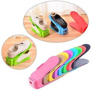 Image 1 - Gorący wielobarwny wyświetlacz półka na buty oszczędność miejsca plastikowy stojak przechowywanie sapateira organizador podwójny plastikowy stojak na buty zaoszczędź miejsce