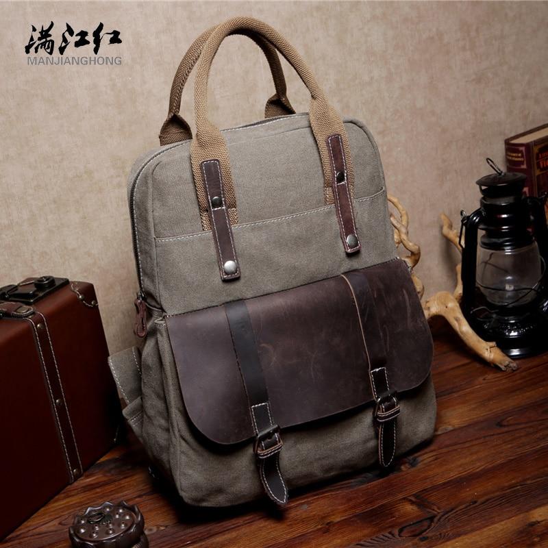 все цены на Manjianghong Students Backpack Bag Canvas+Cowhide Mochila Bag 15 Inches Laptop Backpack Canvas Toile Bag 1527 онлайн