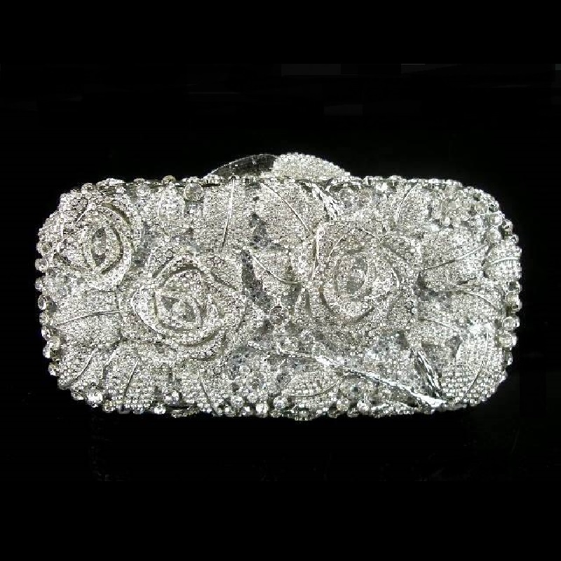 #8207 Crystal Rose Flower Floral Bridal Party Silver hollow Metal Evening purse clutch bag handbag box case