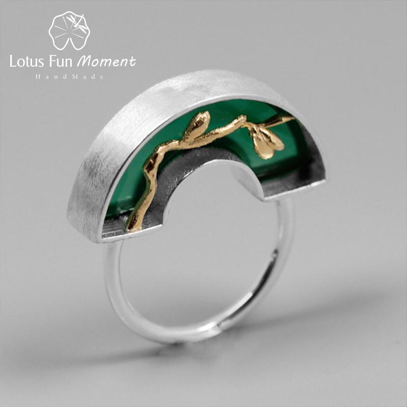 Lotus Fun Moment Real 925 Sterling Silver Handmade Fashion Jewelry Classic Oriental Element Arch Bridge Design Ring For Women