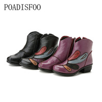 2017 New Leather Handmade Folk Style Women S Shoes Leather Soft Bottom Retro Women Boots Cotton