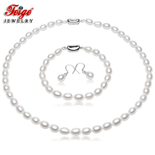 Fine Jewelry Natural Pearl Jewelry Sets, 7-8mm White Natural Freshwater Pearls,925 Sterling Silver Earrings,Wedding Jewelry Sets