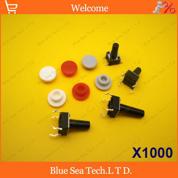 1000Pcs Tactile Push Button Switch Cap for 6 6 9mm to 6 6 12mm switch Parcel