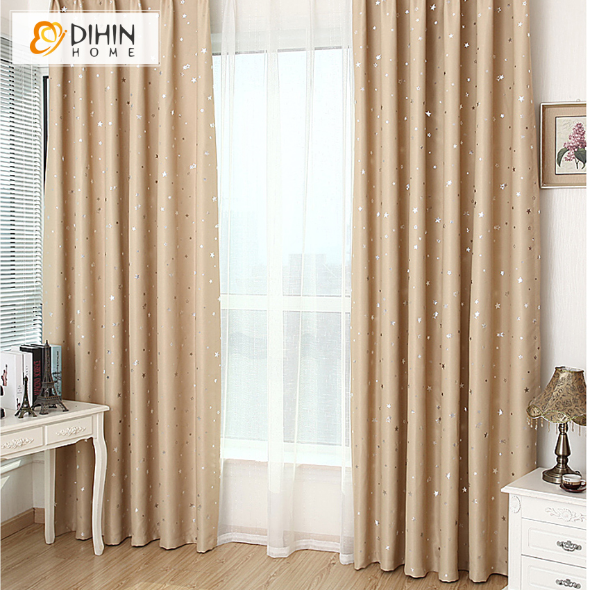 dihin 1 panel star blackout curtains for bedroom living. Black Bedroom Furniture Sets. Home Design Ideas