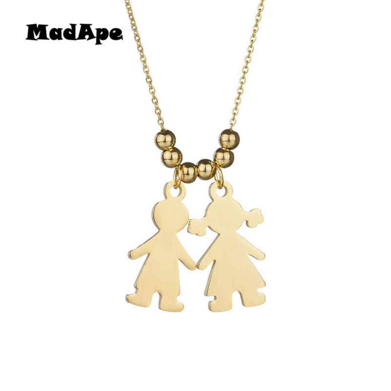 MadApe Boy Girl Figure Necklace Personalized Kids Name Pendant Necklace For Family Gift Stainless Steel Necklace Jewelry