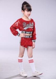 Image 4 - 赤子供子供スパンコールヒップホップダンス衣装キラキラステージジャズダンス衣装スーツ女の子クロップトップとパンツ