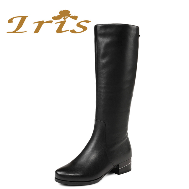 3af64d787d6 IRIS Women Winter Wide Leg Boots Warm Wool Fur Shoes Fashion Crystal Cow  Leather Ladies Low Heel Flat Knee High Boots 2017 New