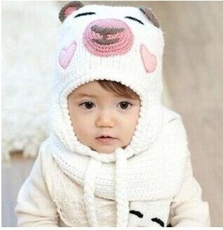 Mignon Ours Unisexe Filles Garçons Bébé Enfants Crochet Tricoté Bonnets  Casquettes Chapeaux 1-4A Nouveau 1a64a34292b