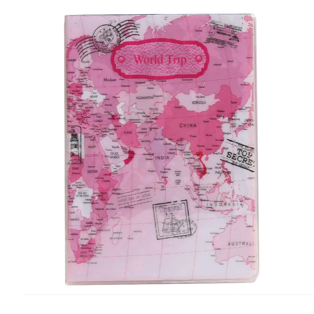 PVC Flat Printing World Map Passport Holder Travel Card Case Document Cover Air Travel Accessory