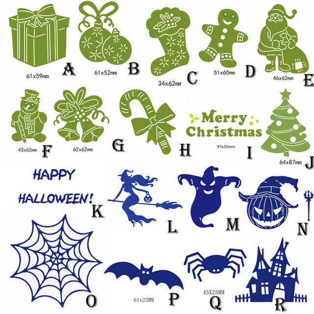 Merry Christmas Happy Halloween Metal Cutting Dies Craft Stencils Scrapbooking Embossing DIY Wholesale Free Shipping 0H31#F