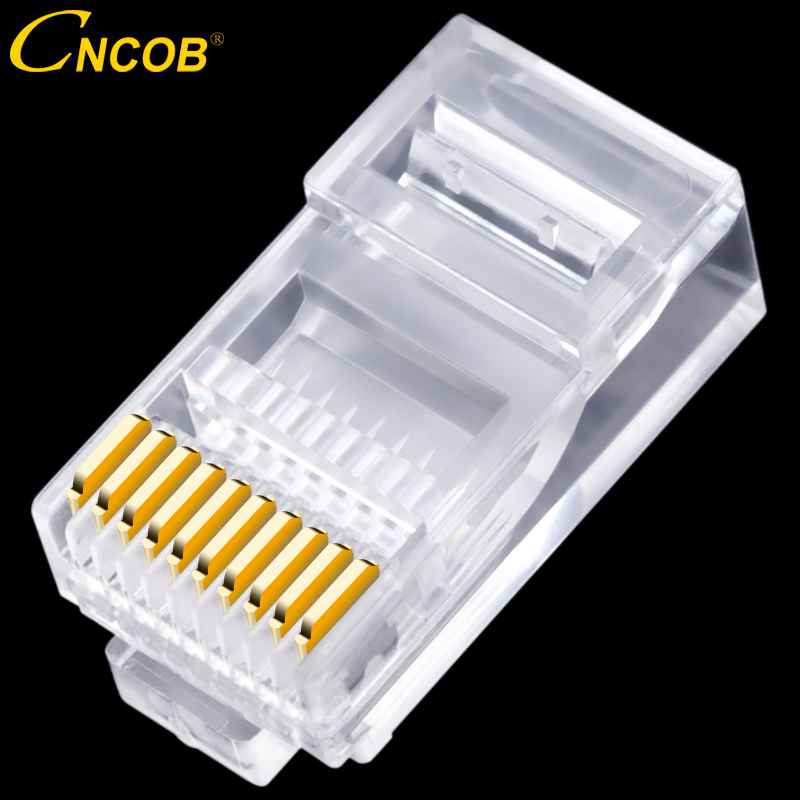 30pcs 10P10C RJ45 RJ48 RJ50 Cat5E UTP Ethernet Connector Network Modular Crystal Plug 10-Pin Network Cable Connector