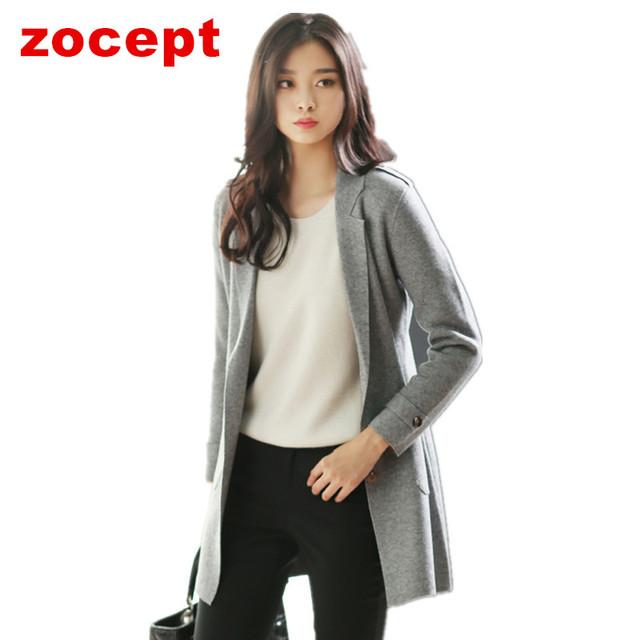 Zocept 2016 otoño invierno nueva Cashmere Blend Cardigan mujer manga larga Kintted suéter chaqueta de moda para mujer estilo largo abrigo