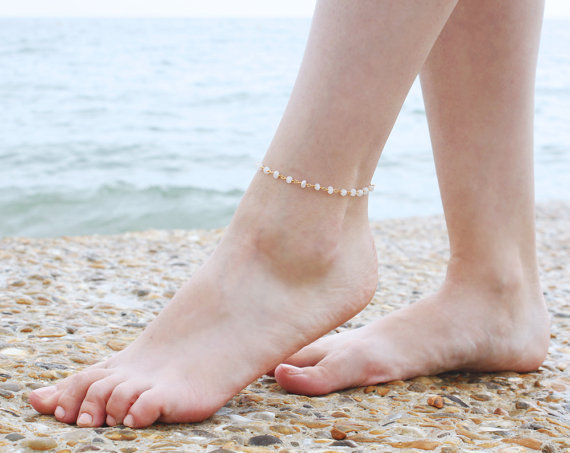 Free shipping, beaded anklets – Boho Moonstone Bangle – Bangle – Dainty Bangle – Boho beaded anklets