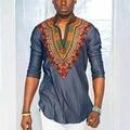 Африканские Платья Хлопчатобумажные Платья Настоящее 2016 Мода Осень Новый Продажа Национальный Ветер Печать V Воротник Семь Рукав Футболки Рубашки