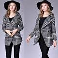 London Style Brand 2017 Houndstooth Coat Female Autumn Side Split Slim Fitting Woman Coat Big Size Nice Quality