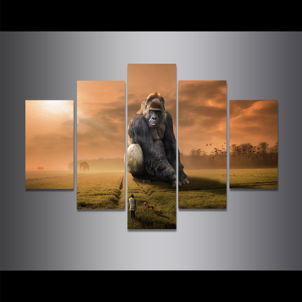 Unframed Canvas Painting Dim Sky King Kong Humanity Grassland Picture Prints Wall Picture For Living Room Wall Art Decoration