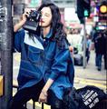 2017 весна Новый женский Ковбой Шить Свободной Летучей Мыши Рукав Длинное Пальто, мода Женщина Джинсовый Синий Ветровка G115