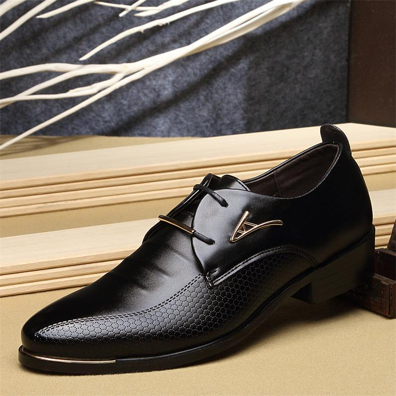 HOT!Fashion Men Dress Shoes Pointed Toe Men Shoes Leather Formal Shoes Men For Wedding Spring Summer Men Flats Plus size