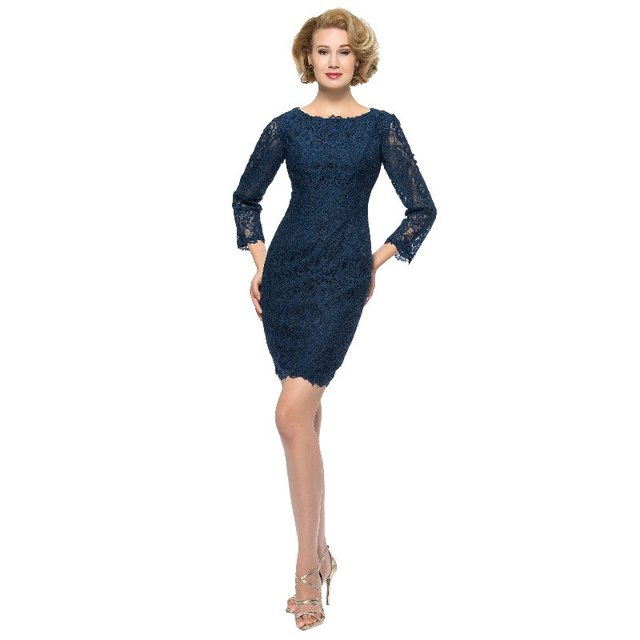 US $105.0 |Vintage Short Navy Mother of the Bride Groom Dresses Plus size  with 3/4 Sleeves V Back Cheap Jeweled Formal Evening Party Dress-in Mother  ...