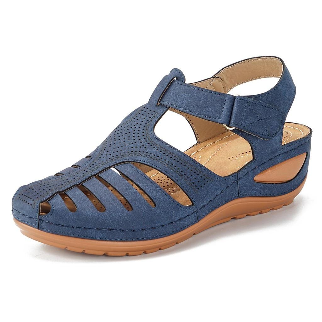 HTB1EJTqeq5s3KVjSZFNq6AD3FXaR Women's Sandals Summer Ladies Girls Comfortable Ankle Hollow Round Toe Sandals Female Soft Beach Sole Shoes Plus Size C40#