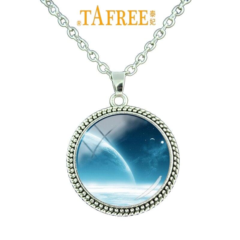 TAFREE Trendy Charm Fashion Solar System Planet Universe Art Photo Necklace Pendant Chain Glass Cabochon Dome Men Jewelry ZY185