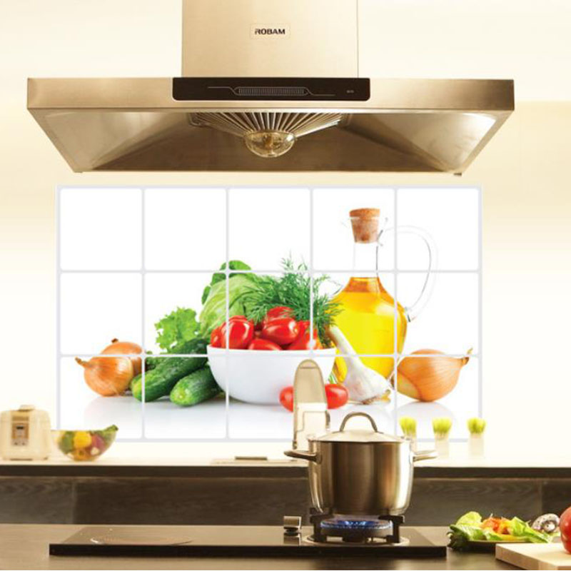 Nova 3D DIY oljna kuhinja Nalepka za stene Zeleno Sadje Freska - Dekor za dom - Fotografija 3