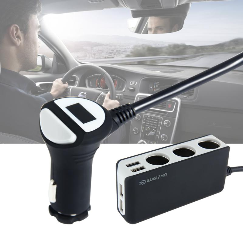EUGIZMO 4 USB Port 3 Way Car Cigarette Lighter Socket Splitter Charger Adapter