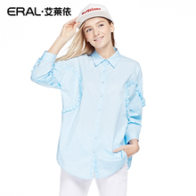 ERAL 2016 Women's Spring Casual POLO Collar Batwing Sleeve Appliques Cute Medium-long Shirt RAL31009-ECAA