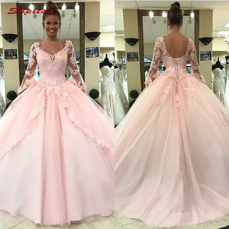 Long Sleeve Lace Mother Of The Bride Dresses For Weddings Plus Size Pink Ball Gown Evening Groom Godmother Dresses
