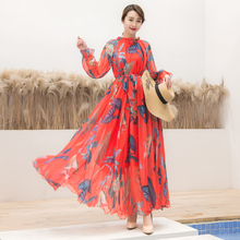 Long Sleeve Dress Red Tropical Beach Vintage Maxi Dresses Boho Casual O Neck Belt Up Tunic Draped Plus Size Sundress