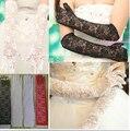 2016 new oco rendas luvas de noiva marfim branco preto verde Dedo cheio Comprimento Cotovelo Acessórios De Noiva 5 Cor Escolher Quente venda