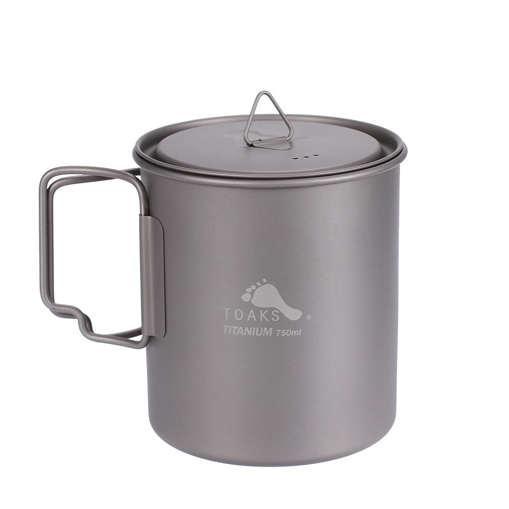 лучшая цена TOAKS Titanium Pot 750ml Ultralight Portable Titanium Bowl Camping Titanium Cup Mug